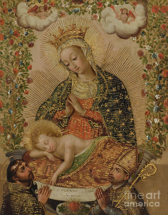 Cuzco Painting - The Virgin Adoring The Christ Child With Two Saints, 18th Century  by Cuzco School