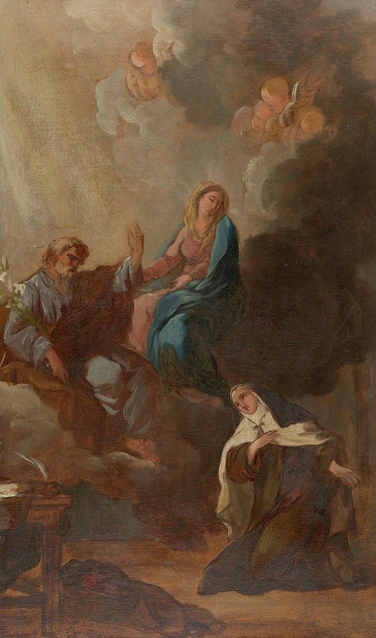 The Virgin Placing St Teresa Of Avila Under The Protection Of St Joseph Painting By Francois Guillaume Menageot