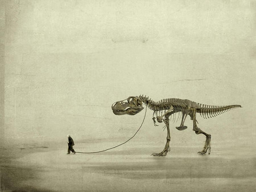 T-rex Photograph - The Walk by Jeffrey Hummel
