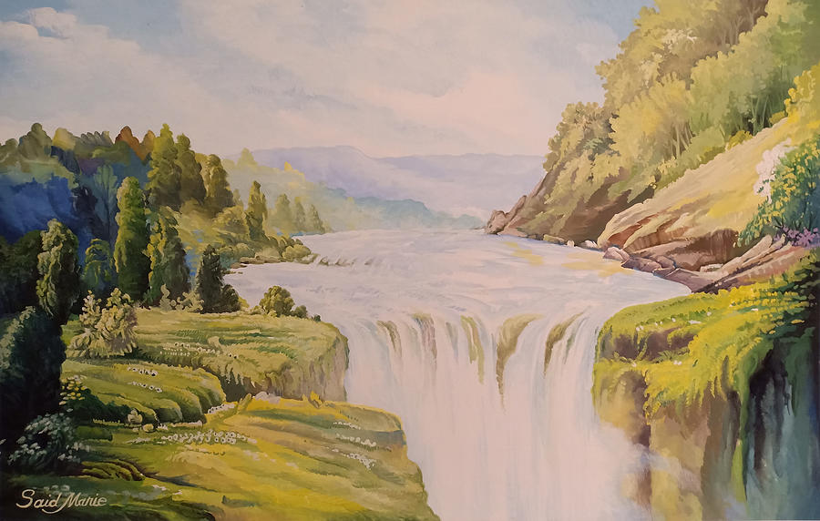 Waterfall Painting - The Waterfall by Said M Marie