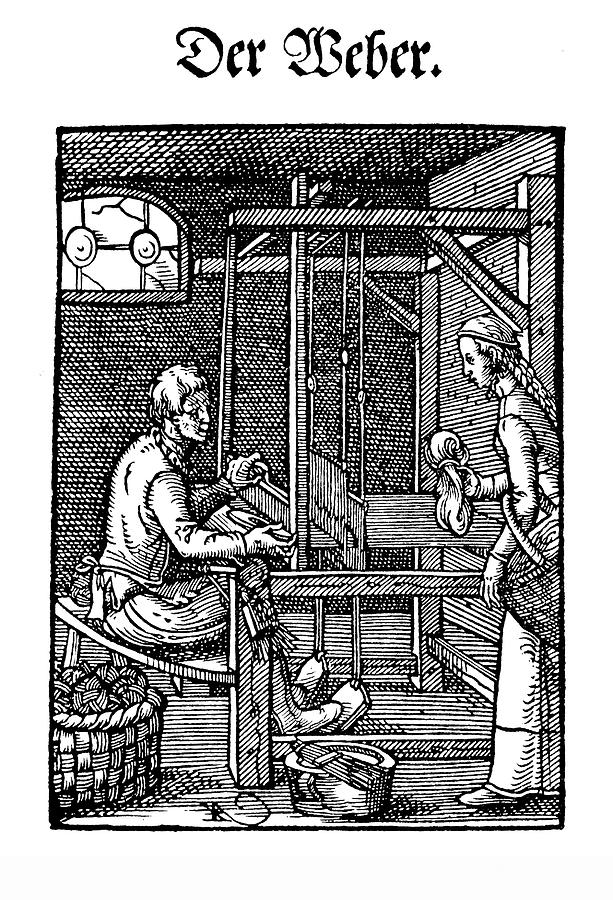 the weaver workshop, Engraving XVI century by Luisa Vallon Fumi