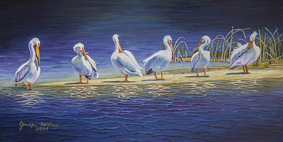 Pelican Painting - The Welcoming Committee by Jennifer Matthews