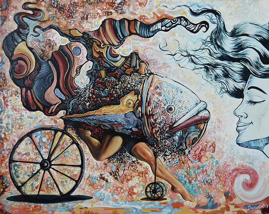 Surrealism Painting - The whimsical fishcstacy by Darwin Leon