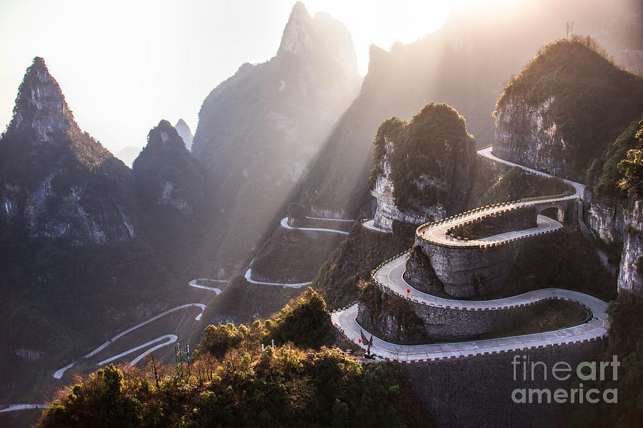 Door Photograph - The Winding Road Of Tianmen Mountain by Kikujungboy