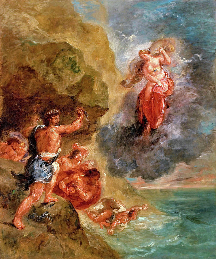 The Winter Painting - The Winter - Juno Beseeches To Destroy Eneas Fleet - Digital Remastered Edition by Eugene Delacroix