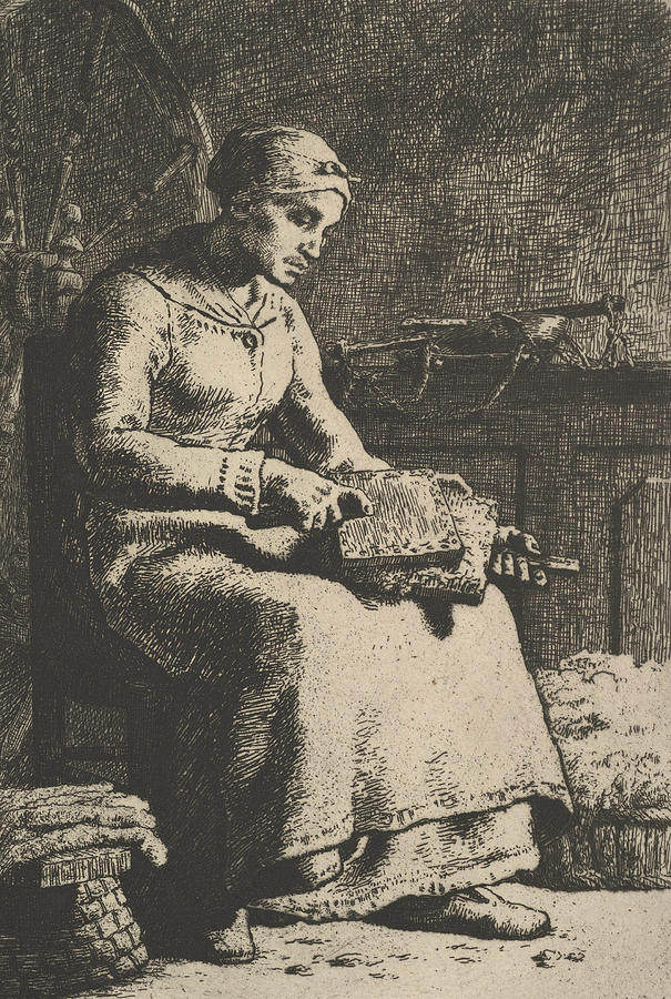 The Wool Carder by Jean-Francois Millet