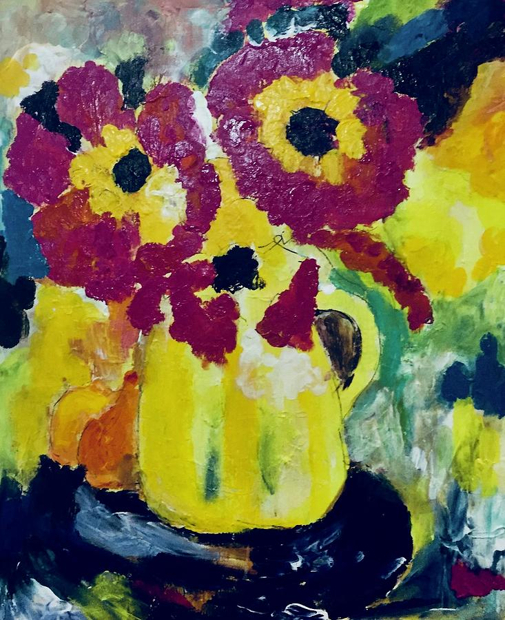 The Yellow Vase Painting By Carol Stanley