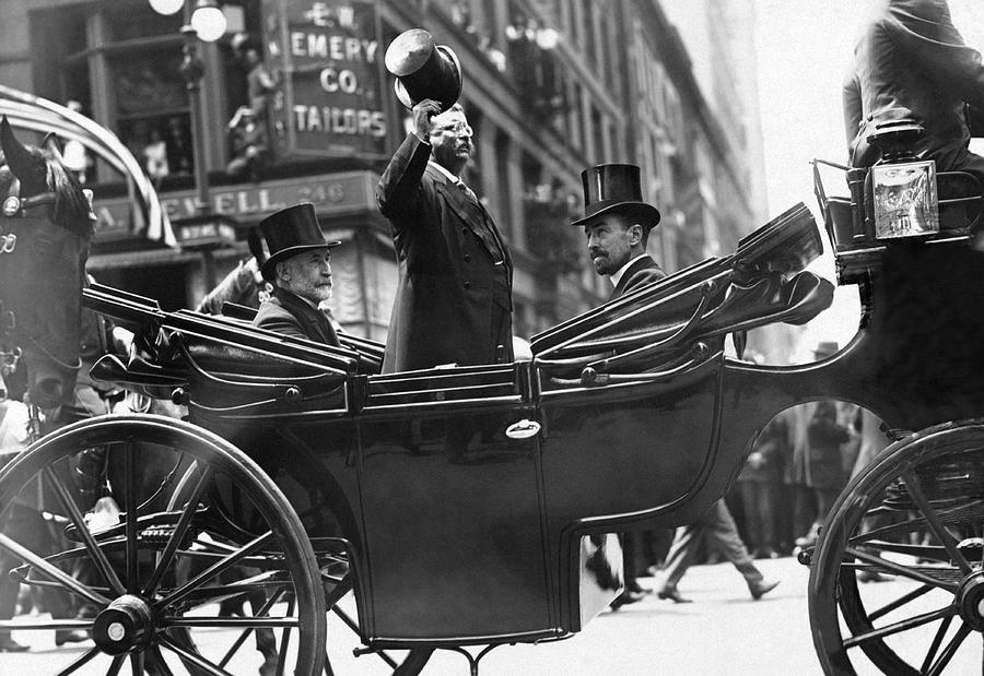 President Roosevelt Photograph - Theodore Roosevelt Tipping His Hat To Crowd - Nyc - 1910 by War Is Hell Store