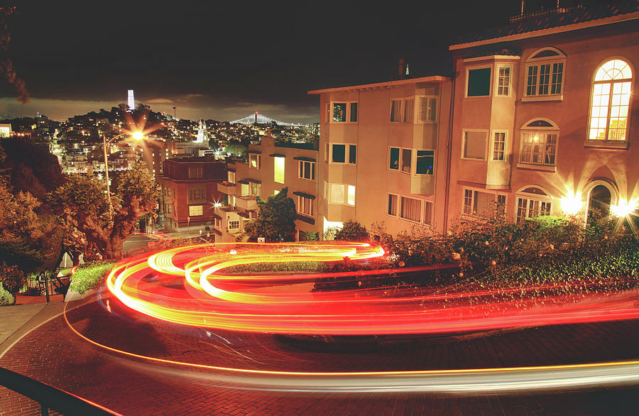 Lombard St Photograph - Theres Magic In The Night by Laurie Search
