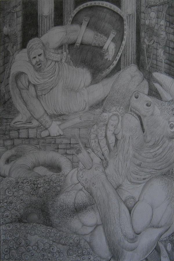 Theseus And The Minotaur by Balkishan Jhumat