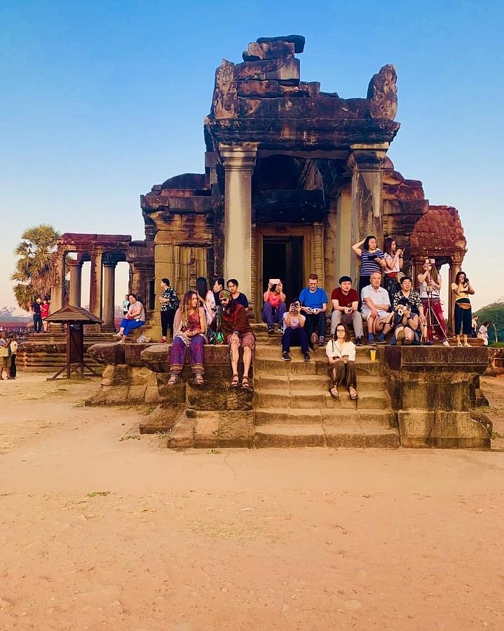 Siem Reap Cambodia Photograph - They Come To See Angkor Wat, Siem Reap, Cambodia by Madeline Ellis