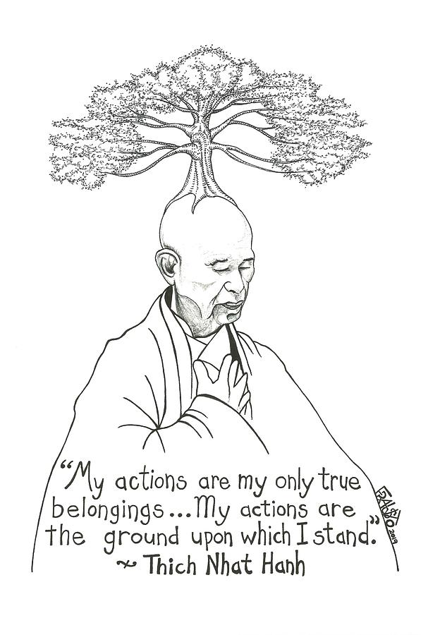 Pen And Ink Illustration Drawing - Thich Nhat Hanh Drawing by Rick Frausto