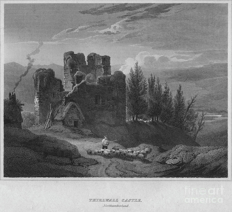Thirlwall Castle, Northumberland, 1814 Drawing by Print Collector