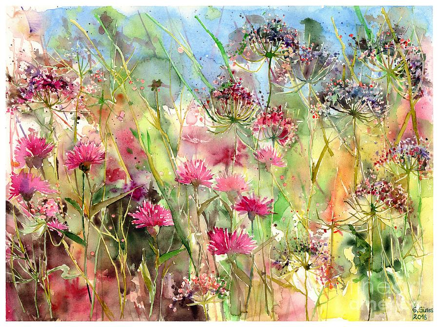 Pink Painting - Thistles Impression II by Suzann Sines