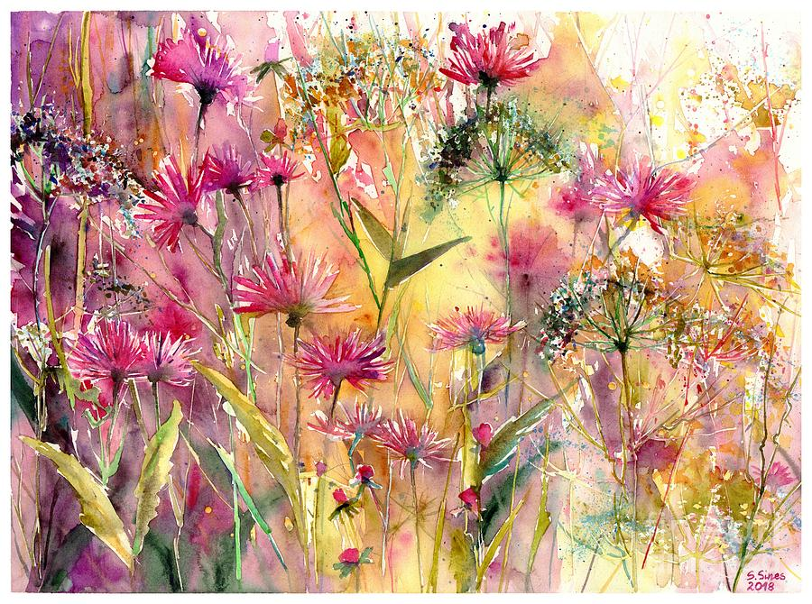 Pink Painting - Thistles Impression by Suzann Sines
