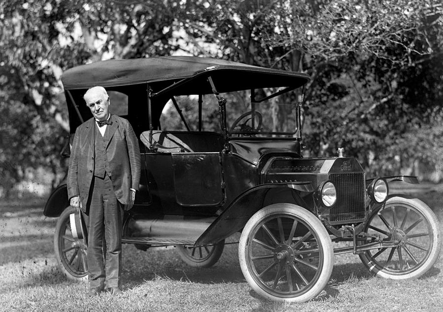Thomas Edison And His 1914 Ford Touring Photograph by New York Daily News Archive