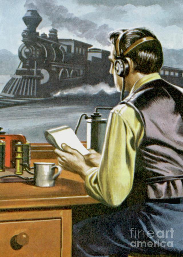Thomas Edison Painting - Thomas Edison, The Railway Telegraphist  by Ron Embleton