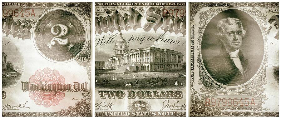 Thomas Jefferson 1917 American Two Dollar Bill Currency Triptych Artwork