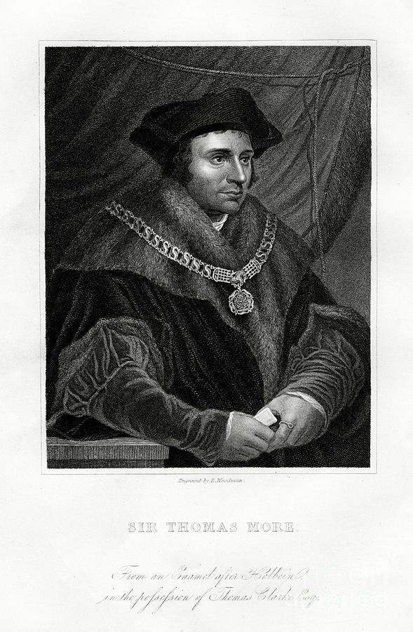 Thomas More, English Statesman, Scholar Drawing by Print Collector