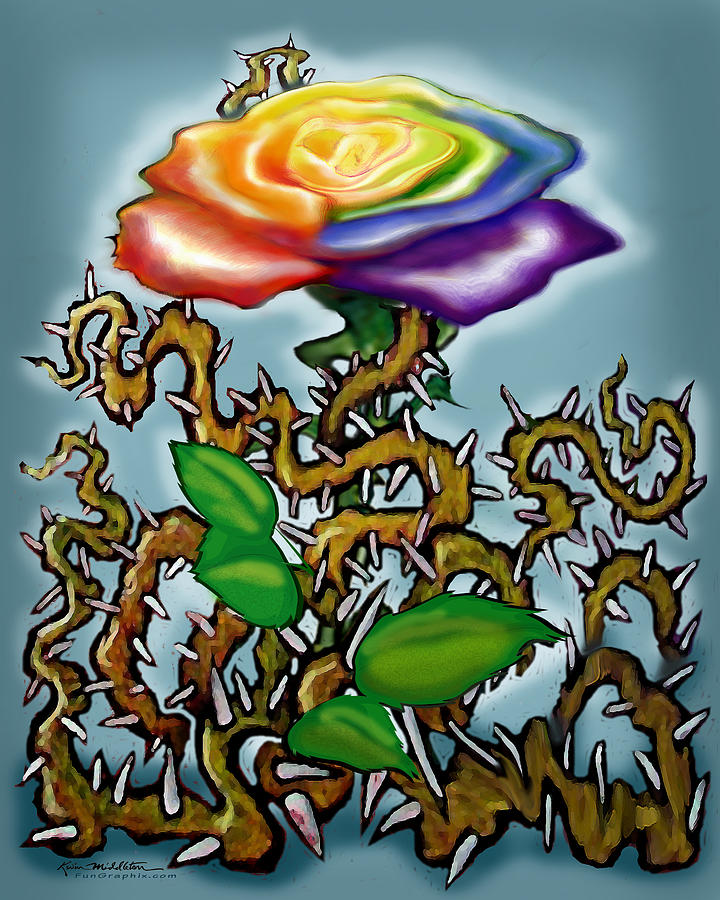 Thorns Digital Art - Thorns n Rainbow Rose by Kevin Middleton