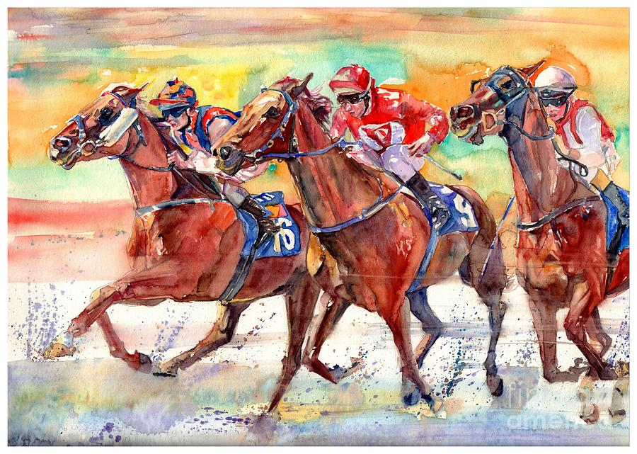 Horse Painting - Thoroughbred Racing by Suzann Sines