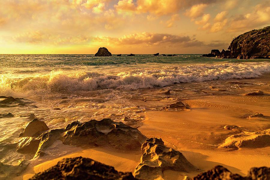 Sunrise Photograph - Thoughtful Morning Golden Coastal Paradise  by Betsy Knapp