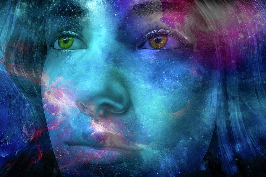 Thoughtful Digital Art - Thoughtful Stargazer by Betsy Knapp