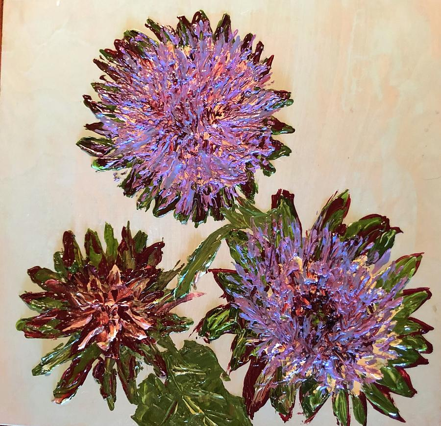 Three Artichoke Blossoms by Julene Franki