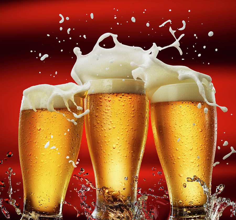 Three Beer Glasses Photograph by Jack Andersen
