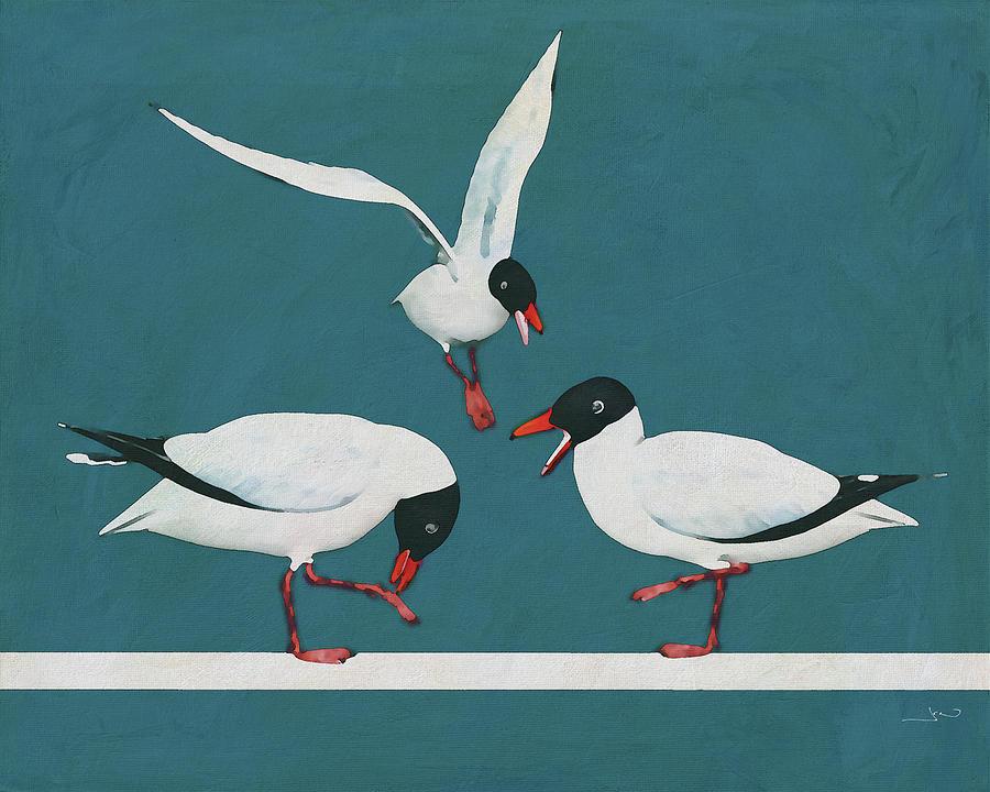 Three Black Seagulls fighting by the sea by Jan Keteleer