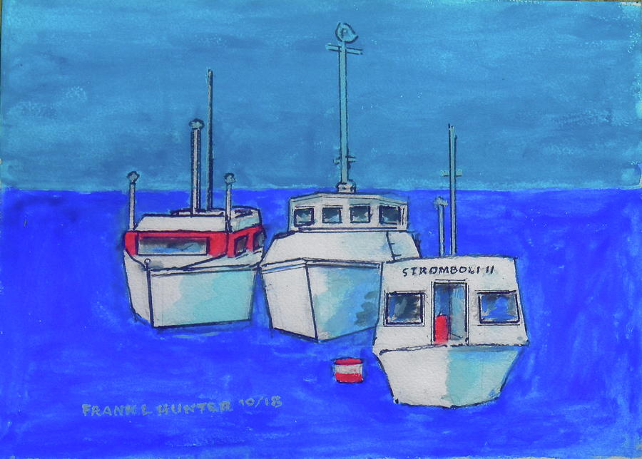 Three Boats at Stromboli by Frank Hunter