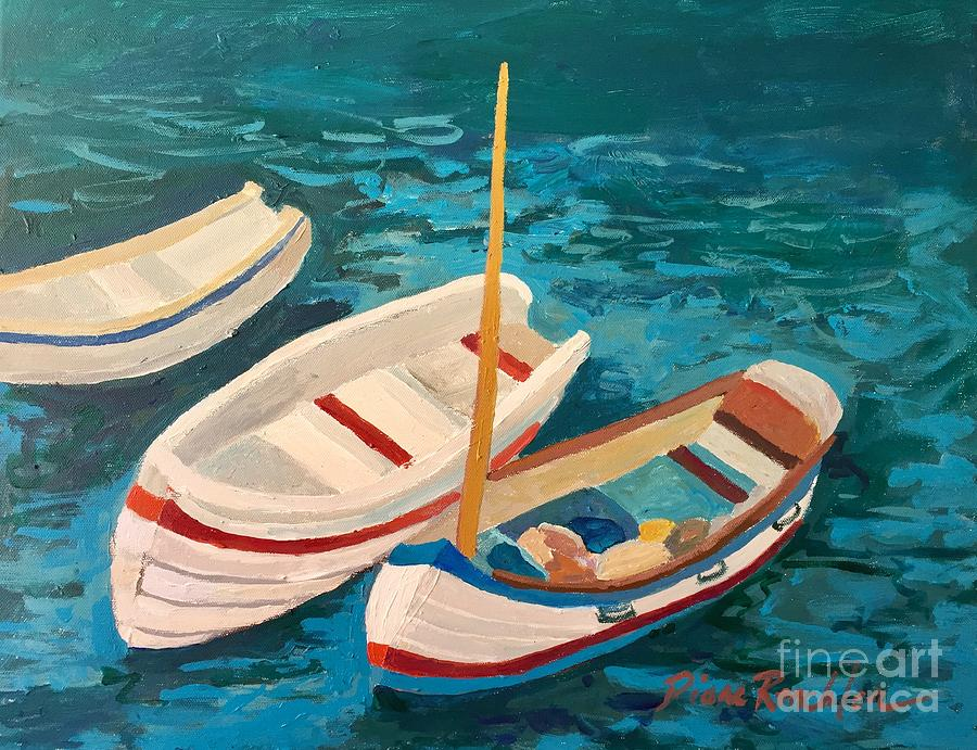 Three Boats in a Blue Harbor by Diane Renchler