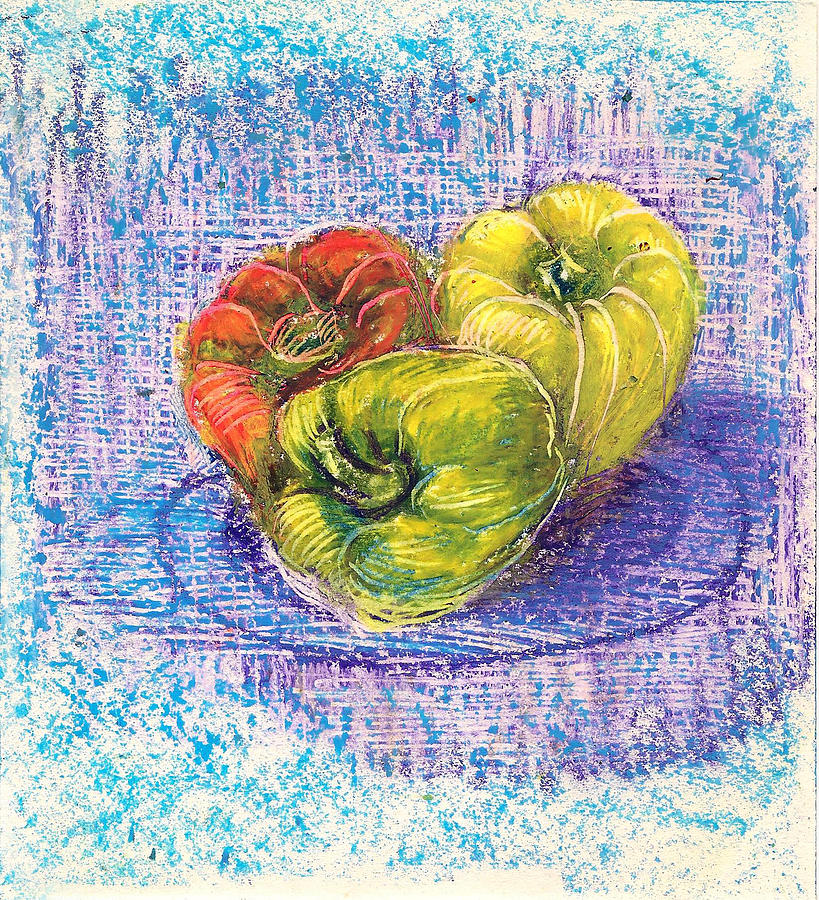Three capsicums by Asha Sudhaker Shenoy