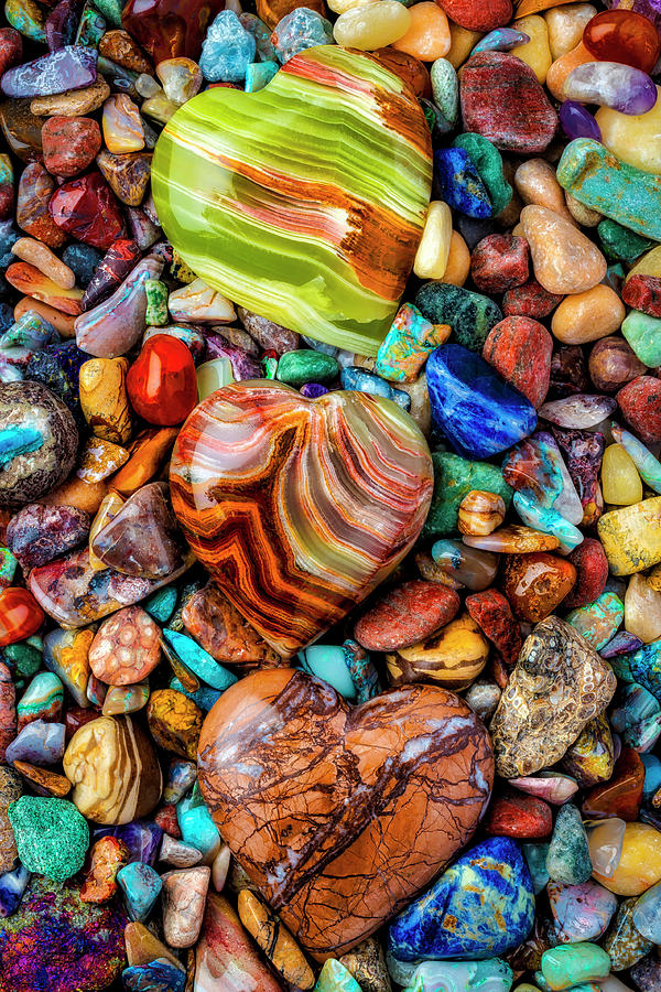 Stone Photograph - Three Colorful Heart Stones by Garry Gay