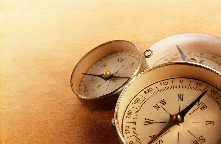 Three Compasses Leaning On One Another Photograph by Dny59