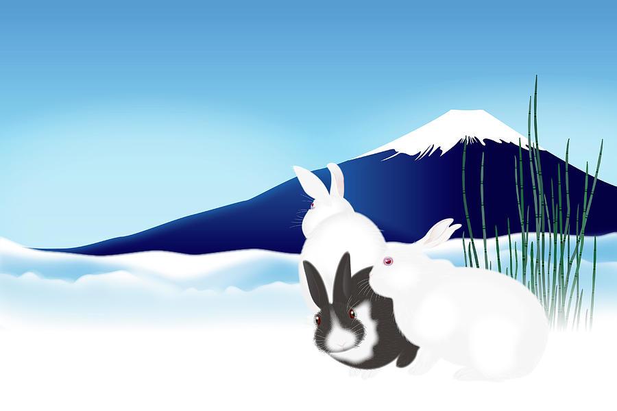 Three Cute Rabbits Against Mt. Fuji Digital Art by Imagewerks