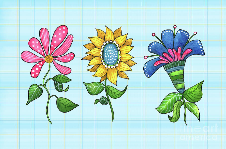 Three Dancing Flowers by Shelley Wallace Ylst