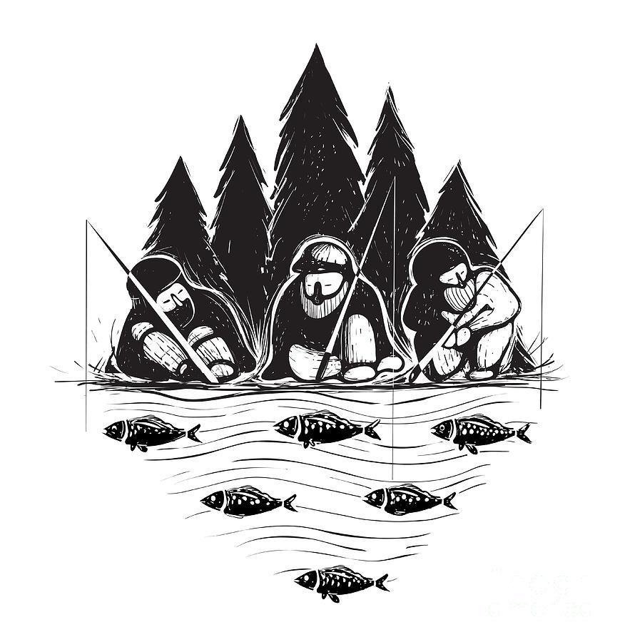 Forest Digital Art - Three Fisherman Sitting On River Bank by Popmarleo
