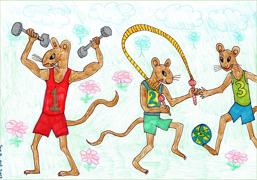 Nursery Rhymes Drawing - Three Fit Mice 1 by Sushila Burgess