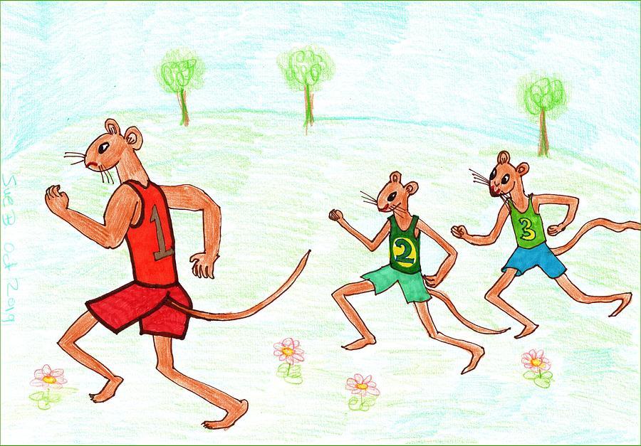 Nursery Rhyme Drawing - Three Fit Mice 2 by Sushila Burgess