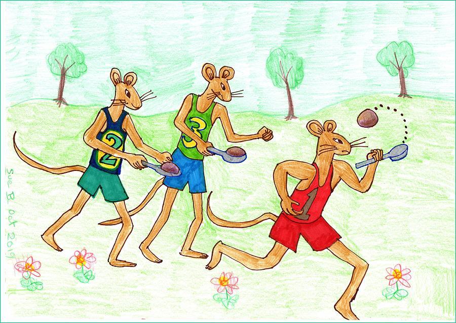 Nursery Rhyme Drawing - Three Fit Mice 3 by Sushila Burgess