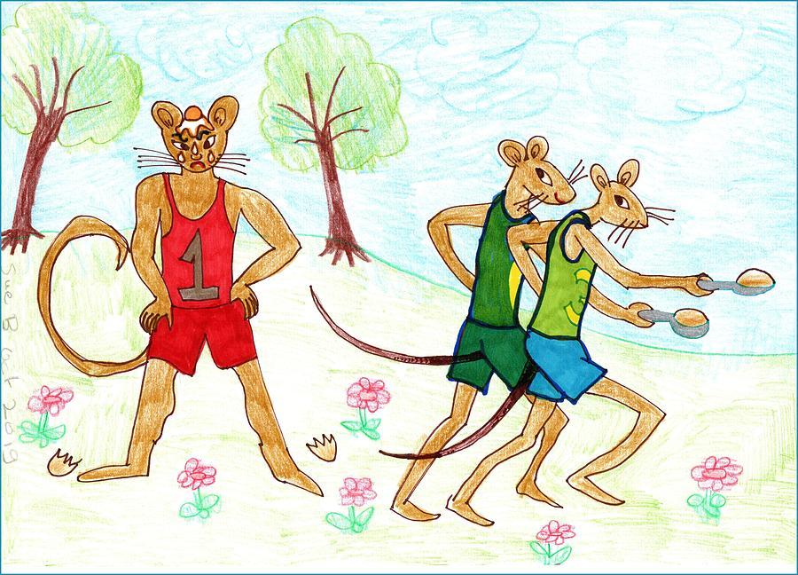 Nursery Rhyme Drawing - Three Fit Mice 4 by Sushila Burgess