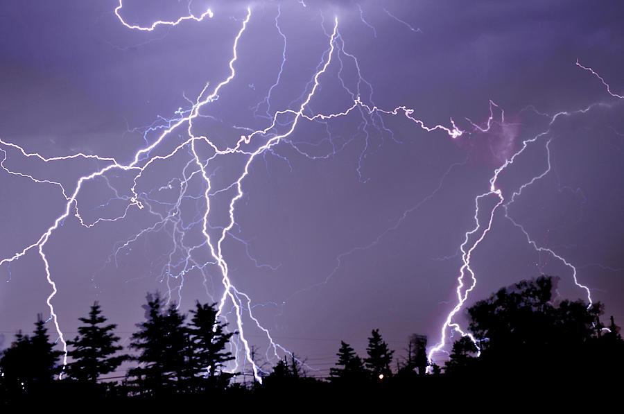 Three Frames Of Lightning Hitting Cedar Photograph by Utah-based Photographer Ryan Houston