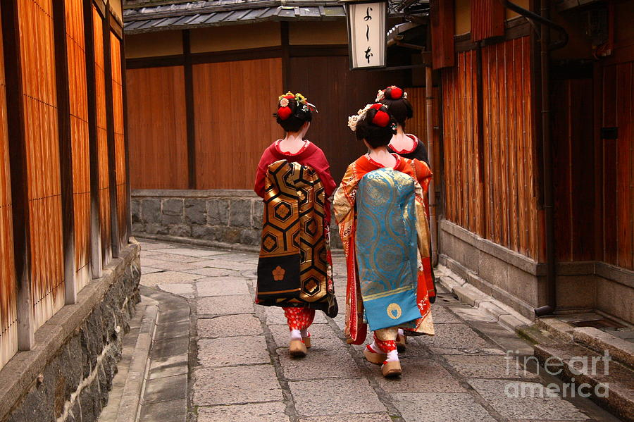 Delicate Photograph - Three Geishas Walking On A Street by Sergii Rudiuk