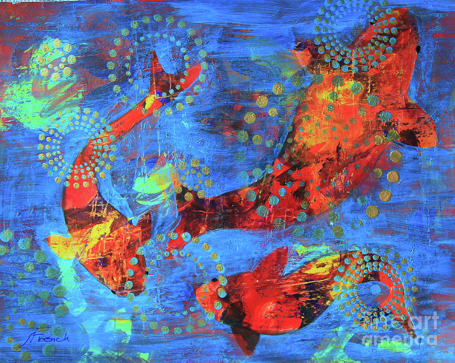 Three Goldfish, Golden Bubbles by Jeanette French