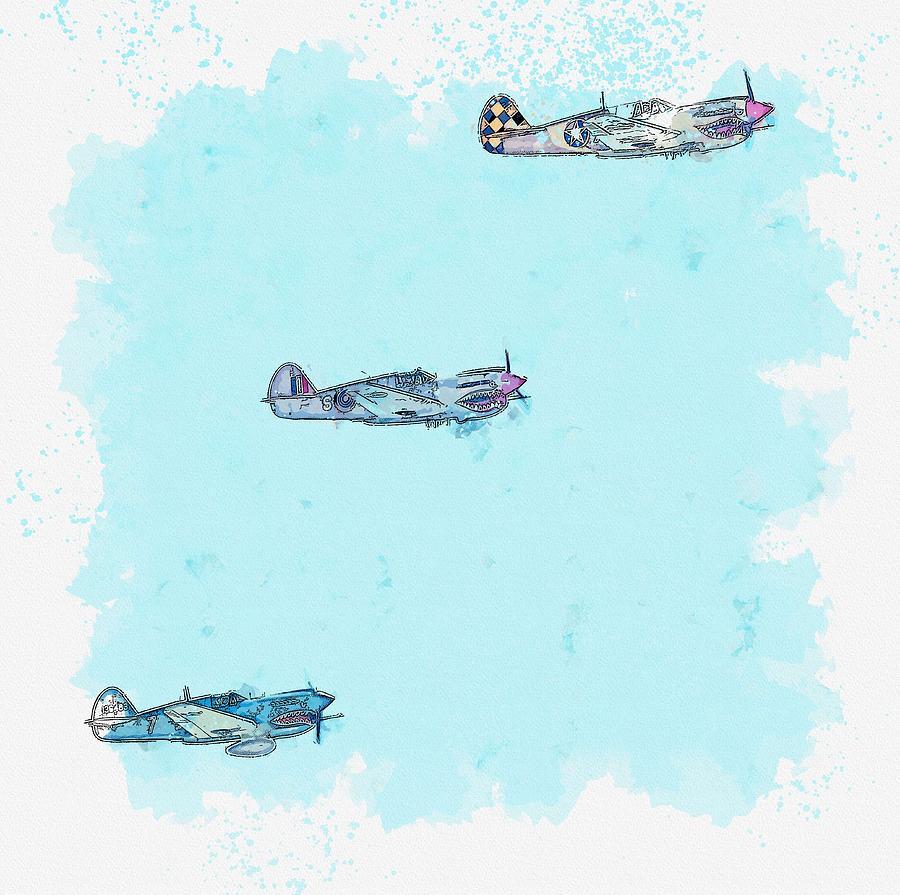 Three Hawks watercolor by Ahmet Asar by Ahmet Asar