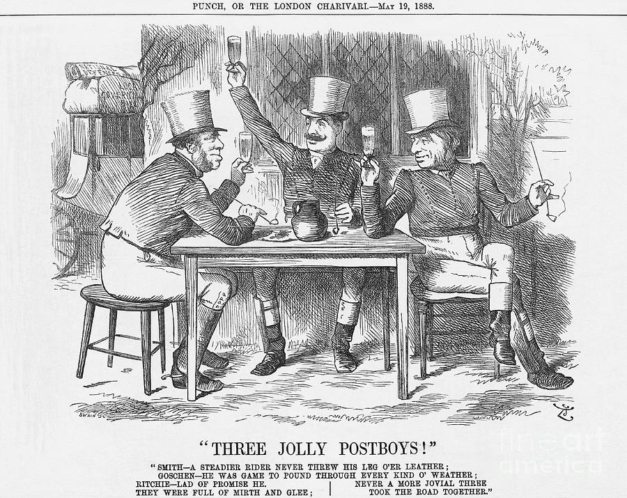 Three Jolly Post Boys, 1888. Artist Drawing by Print Collector