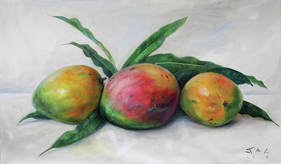 Still Life Painting - Three Julie Mangos by Jonathan Guy-Gladding JAG