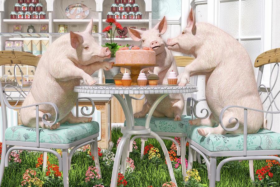 Three Digital Art - Three Little Pigs And The Birthday Cake by Betsy Knapp