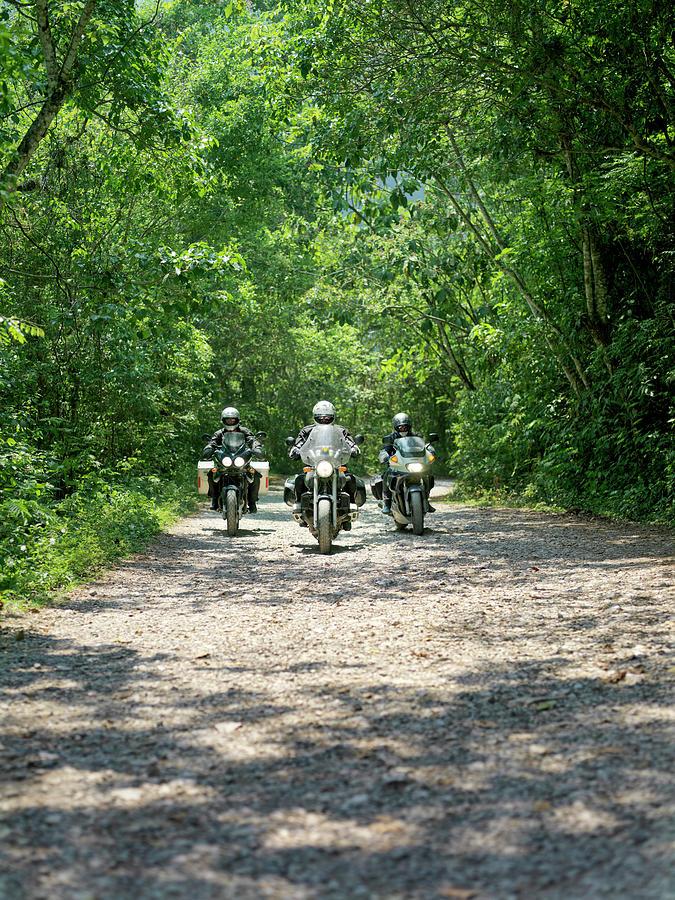 Three Men Riding Motorbikes Along Photograph by Xpacifica